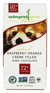 Endangered Species - Dark Chocolate Bar 72% Cocoa Raspberry Orange Crème Filled - 3 oz.