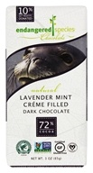 Endangered Species - Dark Chocolate Bar 72% Cocoa Lavender Mint Crème Filled - 3 oz.