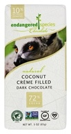 Endangered Species - Dark Chocolate Bar 72% Cocoa Coconut Crème Filled - 3 oz.