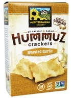Mediterranean Snacks - Gluten-Free Baked Hummuz Crackers Roasted Garlic - 4.5 oz.