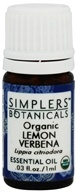 Simplers Botanicals - Organic Lemon Verbena Essential Oil - 0.03 oz.