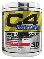 Cellucor - C4 Mass Pre-Workout Explosive Energy & Mass Builder with CreaCarb Fruit Punch 30 Servings - 1020 Grams