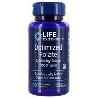 Life Extension - Optimized Folate L-Methylfolate 1000 mcg. - 100 Vegetarian Tablets