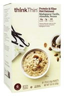 thinkThin Protein and Fiber Hot Oatmeal Madagascar Vanilla with Almonds and Pecans - 6 Packet(s)