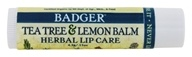 Badger - Certified Organic Herbal Lip Balm Stick Tea Tree & Lemon Balm - 0.15 oz.