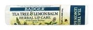 Badger - Certified Organic Herbal Lip Balm Stick Tea Tree & Lemon Balm with Cocoa Butter - 0.25 oz.