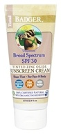 Badger - Tinted Zinc Oxide Sunscreen Cream Unscented 30 SPF - 2.9 oz.