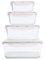TriBest - Glaslife Glass Storage Containers Square Set GLS04SN - 4 Piece(s)