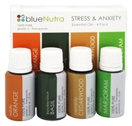 BlueNutra - 100% Pure Essential Oil Stress & Anxiety - 4 Pack