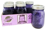 Ball - Regular Mouth 16 oz. Pint Mason Jars Heritage Collection Design Series Purple - 6 Count