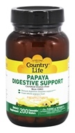 Country Life - Papaya Digestive Support Pineapple Papaya - 200 Chewable Wafers