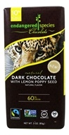 Endangered Species - Dark Chocolate Bar 60% with Lemon Poppy Seed - 3 oz.