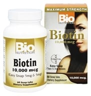 Bio Nutrition - Biotin 10,000 mcg. - 60 Easy Snap Tablets