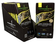 Endangered Species - Dark Chocolate Bars Box 60% Cocoa Lemon Poppy Seed - 12 Bars