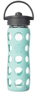 Lifefactory - Glass Beverage Bottle With Silicone Sleeve and Straw Cap Turquoise - 16 oz.