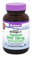 Bluebonnet Nutrition - Natural Omega-3 Vegetarian DHA 100 mg. - 60 Vegetarian Softgels
