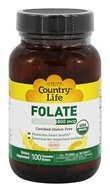 Country Life - Folate Orange Flavor 800 mcg. - 100 Chewable Wafers