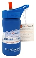 Eco Vessel - Frost Triple Insulated Stainless Water Bottle with Flip Spout Blue Robot - 13 oz.