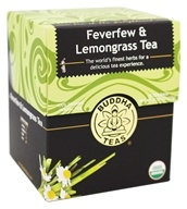 Buddha Teas - 100% Organic Herbal Feverfew & Lemongrass Tea - 18 Tea Bags