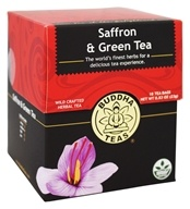 Buddha Teas - Wild Crafted Herbal Saffron & Green Tea - 18 Tea Bags