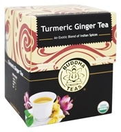 Buddha Teas - 100% Organic Herbal Turmeric Ginger Tea - 18 Tea Bags