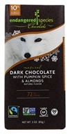 Endangered Species - Dark Chocolate Bar 72% Cocoa Pumpkin Spice and Almonds - 3 oz.
