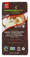 Endangered Species - Dark Chocolate Bar 60% Cocoa Cranberries, Orange & Cinnamon - 3 oz.