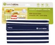 LunchSkins - Reusable Sandwich + Snack Bag Navy Stripe