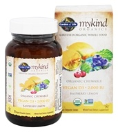 Garden of Life - mykind Organics Organic Chewable Vegan D3 Raspberry-Lemon 2000 IU - 30 Chewable Tablets