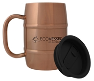 EcoVessel - Double Barrel Insulated Stainless Steel Coffee and Beer Mug with Lid Copper - 17 oz.