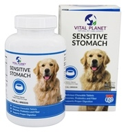 Vital Planet - Sensitive Stomach with Probiotics, Enzymes and Fiber Chicken Flavor - 60 Chewable Tablets