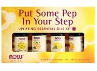 MAINTENANT nourritures - Put Some Pep in Your Step Uplifting Essential Oils Kit - 4 Bouteilles