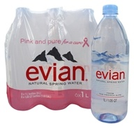 Evian - Natural Spring Water 33.8 oz. Bottles - 6 Pack