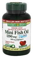 Nature's Bounty - Odor-Less Premium Strength Mini Fish Oil 1290 mg. - 90 Coated Softgels