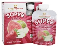 HappyFamily - Organic HappySqueeze Super Fruit Snack Apple, Strawberry & Guava - 4 Pouches