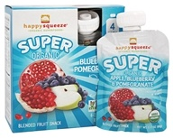 HappyFamily - Organic HappySqueeze Super Fruit Snack Apple, Blueberry & Pomegranate - 4 Pouches