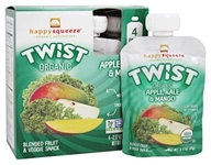 HappyFamily - Organic HappySqueeze Twist Fruit Snack Apple, Kale & Mango - 4 Pouches