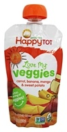HappyFamily - Organic HappyTot Love My Veggies Pouches Carrot, Banana, Mango & Sweet Potato - 4.22 oz.