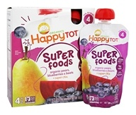 HappyFamily - Organic HappyTot Super Foods Pouches Pears, Blueberries & Beets + Super Chia - 4 Pouches