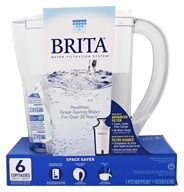Brita - Space Saver Pitcher Water Filtration System White - 6 Cup(s)
