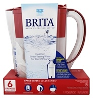 Brita - Space Saver Pitcher Water Filtration System Red - 6 Cup(s)