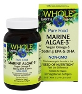 Whole Earth & Sea - Pure Food Marine Algae-3 - 30 Vegetarian Softgels