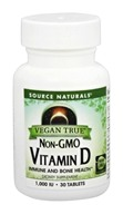 Source Naturals - Vegan True Non-GMO Vitamin D 1000 IU - 30 Tablets