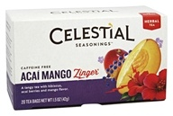 Celestial Seasonings - Zinger Herbal Tea Caffeine Free Acai Mango - 20 Tea Bags