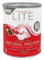 Designer Protein - Lite Natural Protein Powder Strawberry Sundae - 9.03 oz.