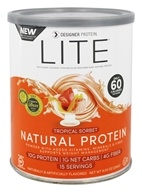 Designer Protein - Lite Natural Protein Powder Tropical Sorbet - 9.03 oz. ...