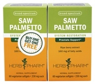 Herb Pharm - Saw Palmetto Berry Twin Pack - 60 Vegetarian Softgels