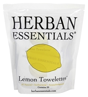 Herban Essentials - Citron de Towelettes - 20 Compte