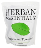 Herban Essentials - Towelettes Peppermint - 20 Count