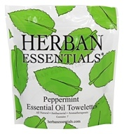 Herban Essentials - Towelettes Essential Oil Peppermint - 7 Count